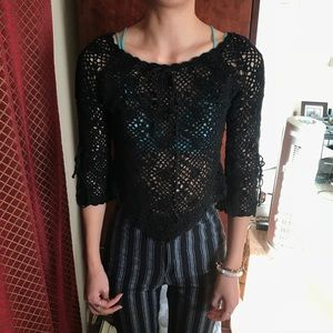 Vintage crochet black top
